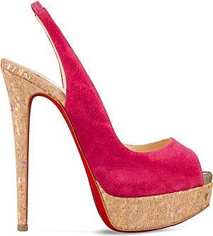 CHRISTIAN LOUBOUTIN Lady Peep Sling 150 liege lame/specchio (Version rosa