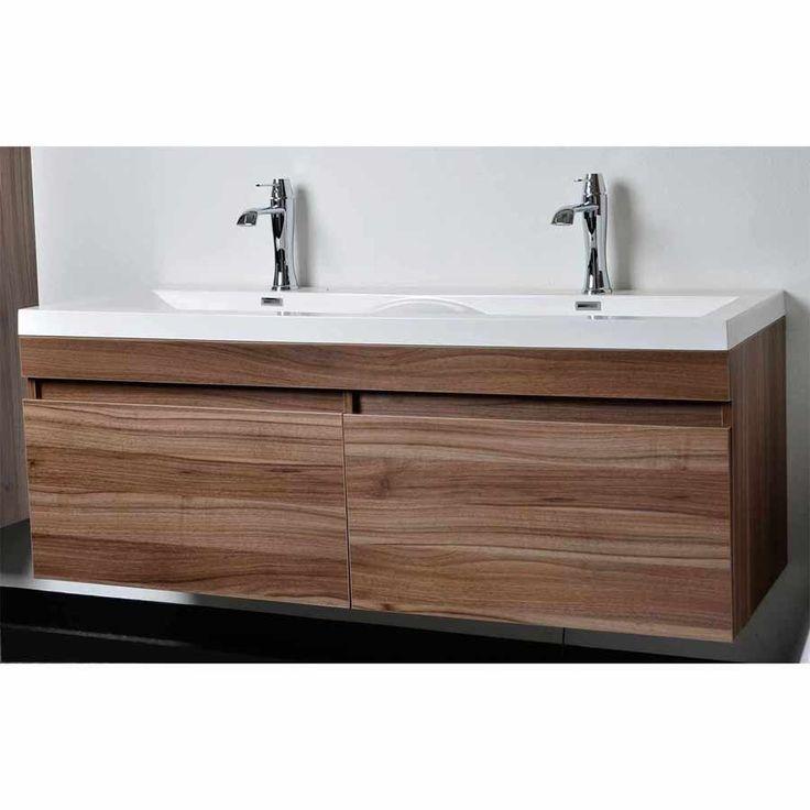 Modern Bathroom Vanity Set With Wavy Sinks In Walnut Tn A1440 Wn For The
