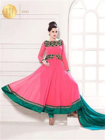 York 10081 - Bright Pink and Sea Green Georgette Anarkali Suit