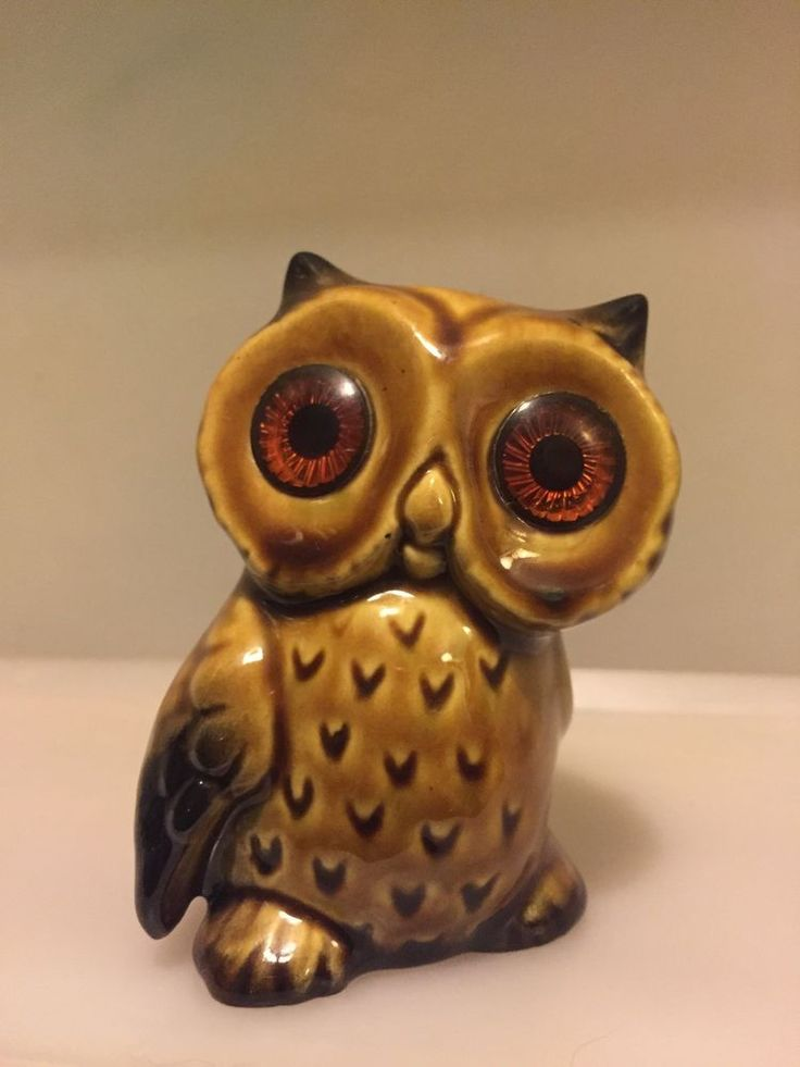 Vintage Owl Ceramic Figurine- Button Eyes