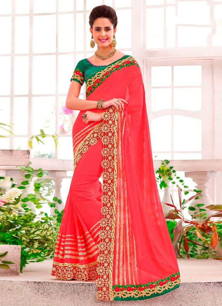 Affectionate Red Georgette Designer Saree