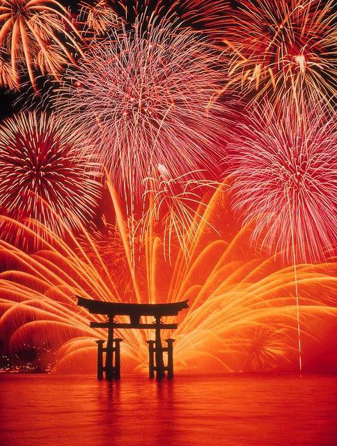 Fireworks at Miyajima, Japan.