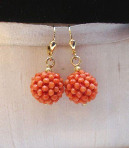 Vintage-šperky-Set-Chain-náhrdelník-Heart-Coral-585-Gold-náušnice-Ring-750