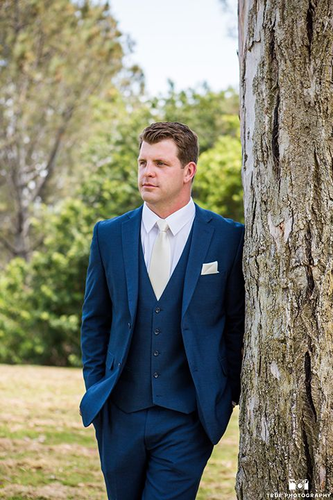 San Diego Outdoor Beach Wedding Groom Dark Navy Blue Suit With Matching Vest And White Dress Shirt A Long Ivory Tie Pocket Square