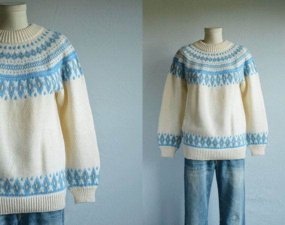 Vintage 70s Nordic Sweater / 1970s Dale of Norway Hand Knit