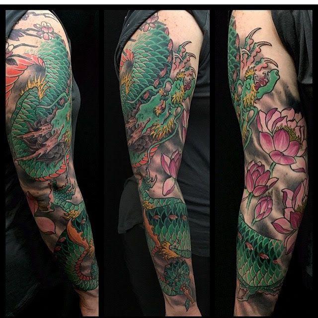 Japanese style dragon sleeve tattoo by Cindy Maxwell. Seventh Son Tattoo, San Francisco, California. Dark Age Tattoo, Seattle, WA. Instagram: cindy_maxwell cindymaxwell.bigcartel.com