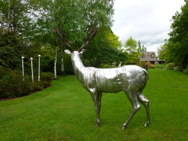 Bill Clarke of Forged and Crafted  sculpture, Central Otago , NZ.  Stainless steel Stag winner of Peoples Choice , Art in a Garden, 2015.