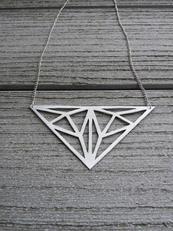 Geometric Metallic Necklace  Iota by SharpCloud on Etsy, $22.00