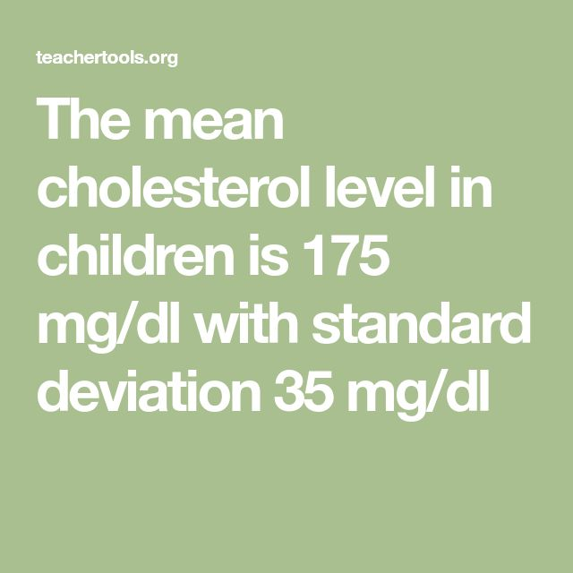 The mean cholesterol level in children is 175 mg/dl with standard deviation 35 mg/dl