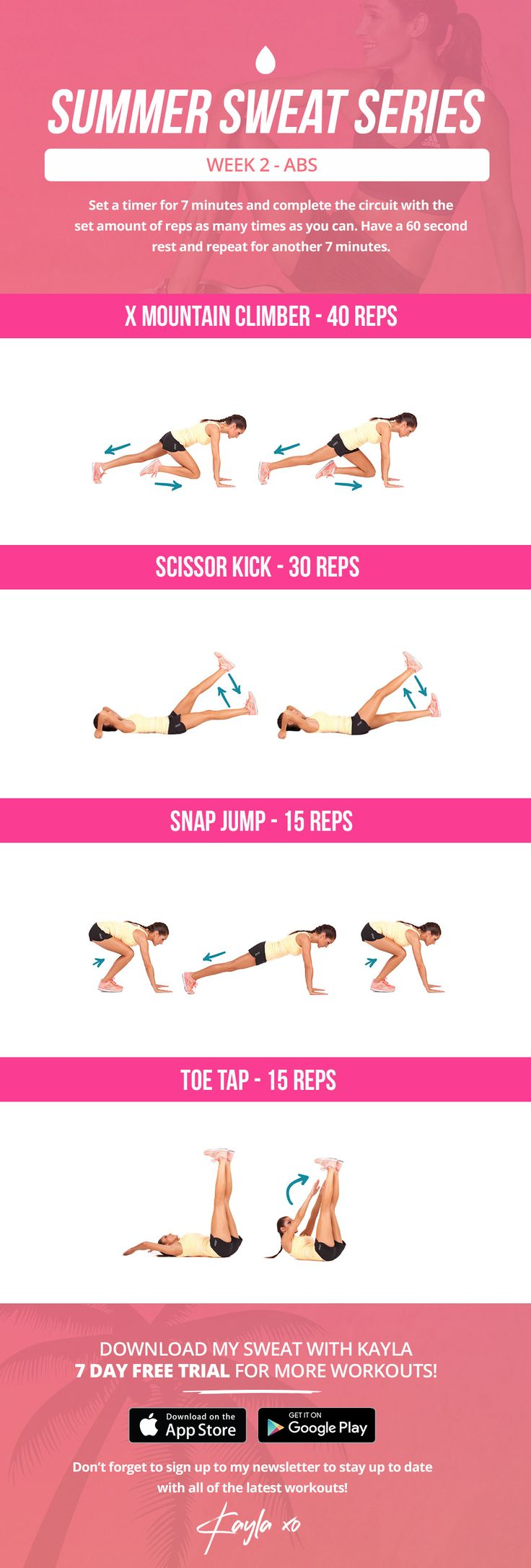 Abs Workout - Summer Sweat Series - Friday Week 2 – Kayla Itsines
