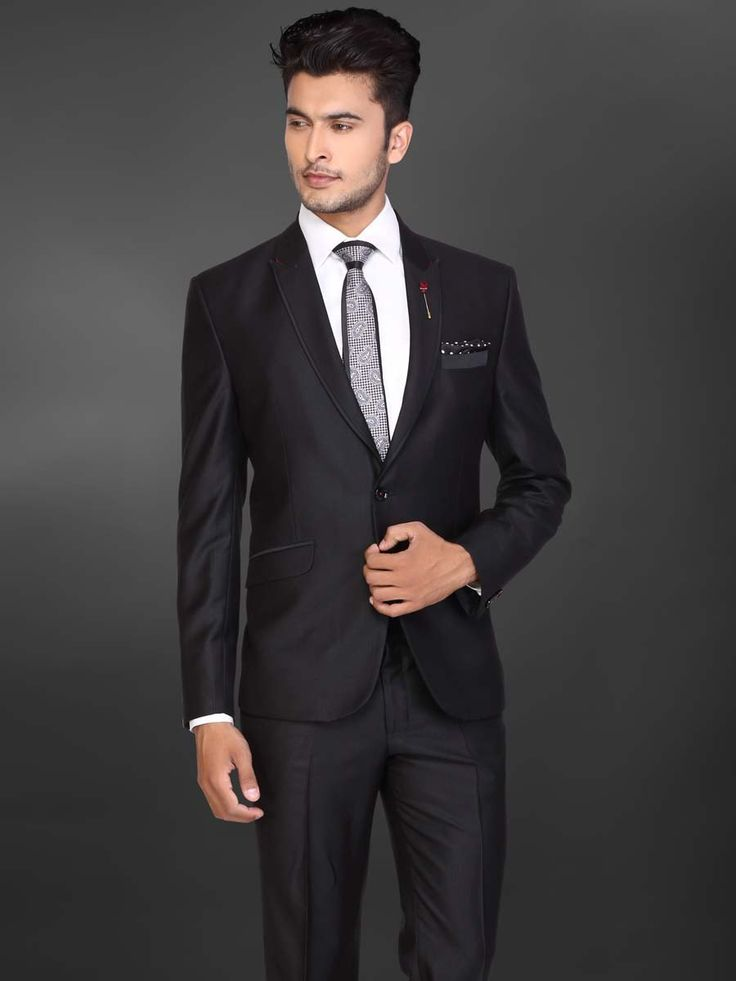 Чёрный мужской костюм-двойка   белая рубашка с галстуком