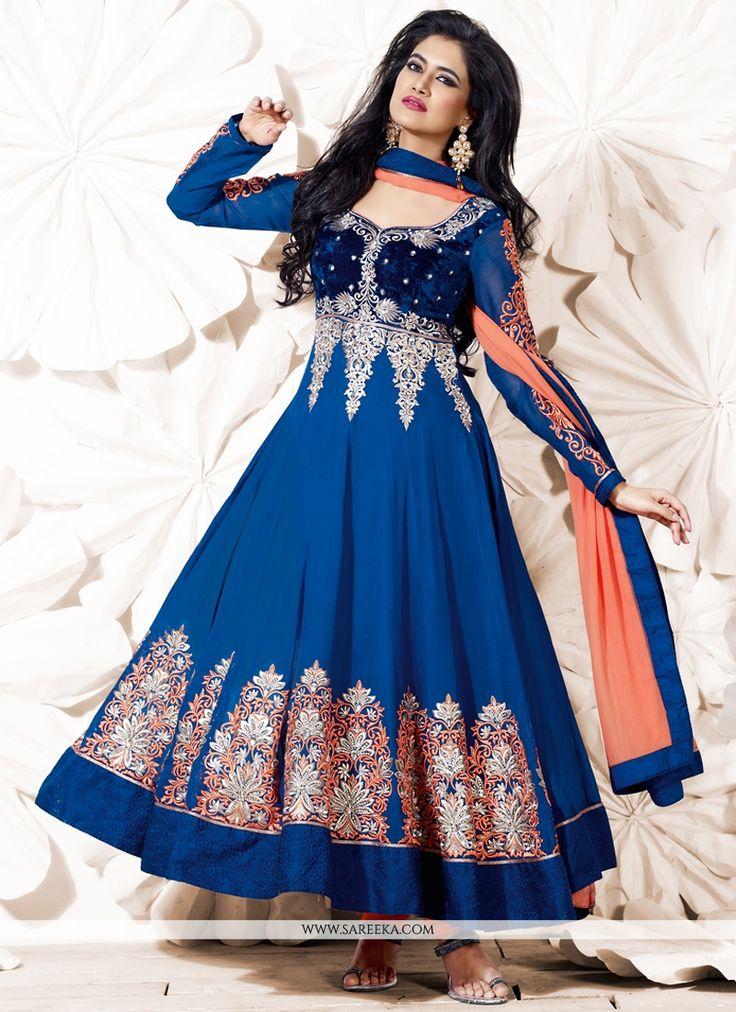 Royal Blue Embroidery Work Anarkali Salwar Kameez
