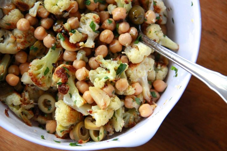 roasted cauliflower & chickpea salad. | cook this - savory | Pinterest