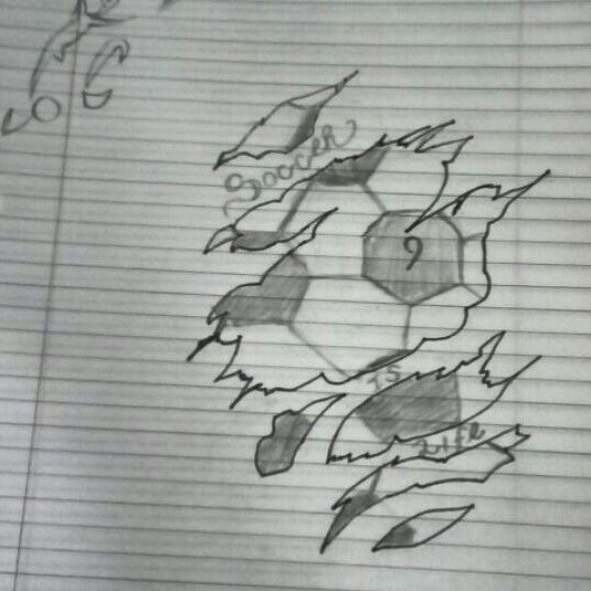My idea of a tattoo a soccer ball beneath the skin that i drew