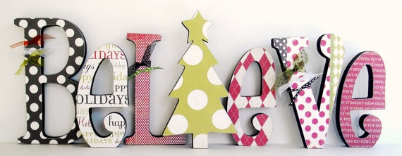 I NEED this! Maybe if I start now, it'll be done by Christmas...: Holiday Ideas, Wood Letters, Holidays, Wooden Letters, Christmas Decor, Easy Christmas Crafts, Craft Ideas