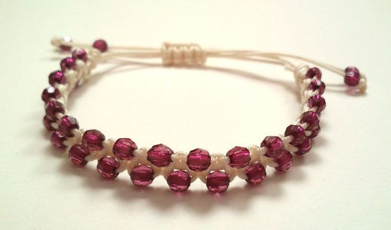 bracelet with purple beads by KleopatrasCreations on Etsy
