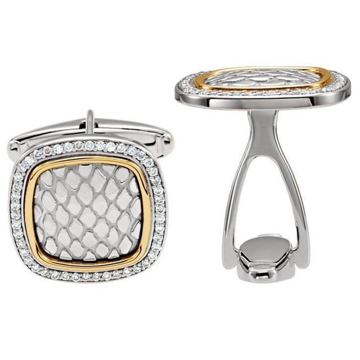 Antique Snake Design Diamond Cufflinks in Sterling Silver and 14K Yellow Gold - DaVinci Emporium