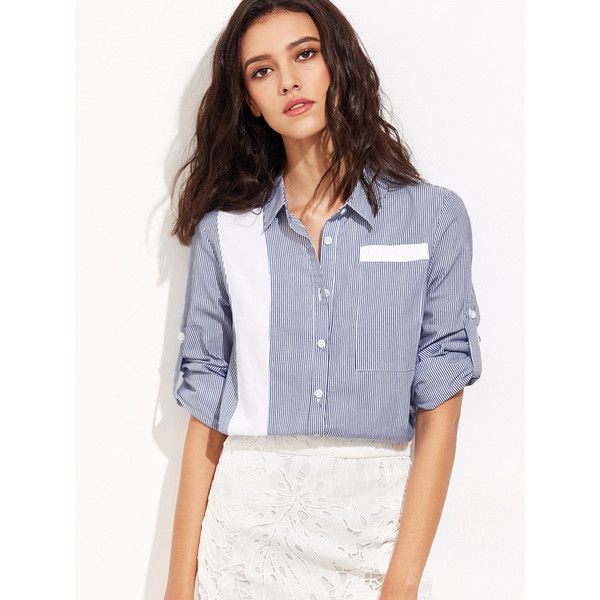 Navy Vertical Striped Contrast Panel Roll Sleeve Blouse ($25) ❤ liked on Polyvore featuring tops, blouses, navy, button cuff shirt, long tops, vertical stripe shirts, long button shirt and button shirt