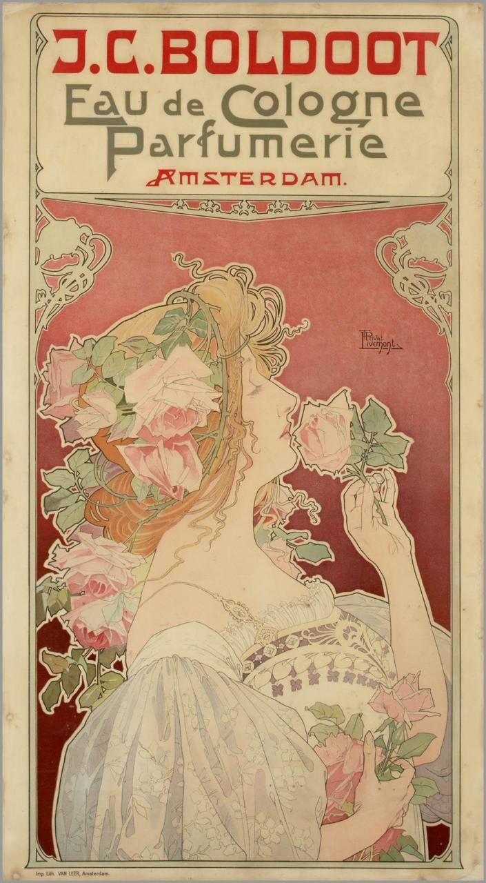 J.C. Boldoot, Eau de Cologne Parfumerie, Amsterdam by Henri Privat-Livemont (1861 - 1936) lady smelling roses.