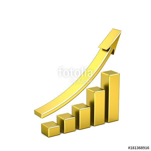 """3D Business Growth Bar Gold Graph Curve Illustration"" Stock photo and royalty-free images on Fotolia.com - Pic 181368916"