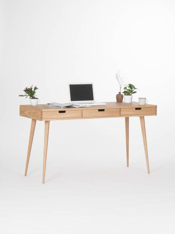 Wooden Desk Office Table Bureau Mid Century Modern Solid Oak Escritorio De Madera Libreros De Madera Roble Macizo