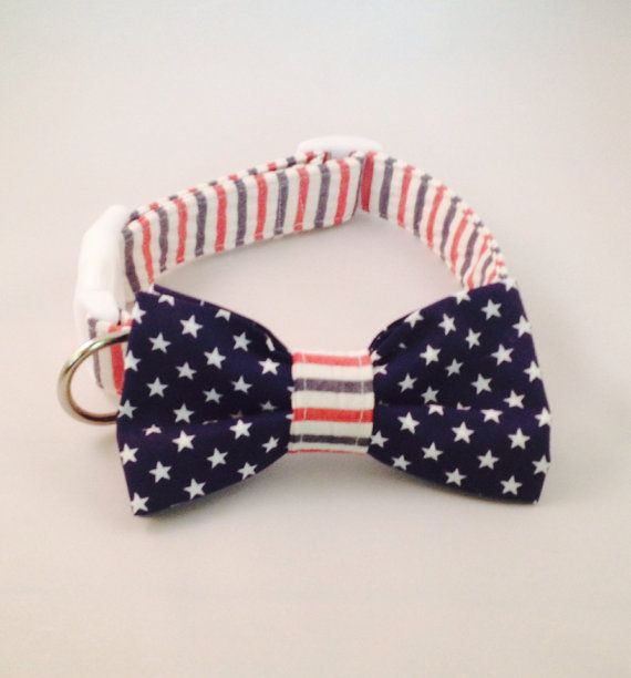 4th of july dog bow tie