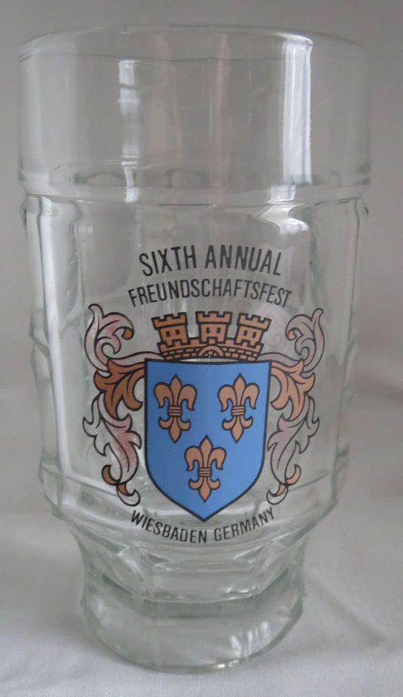 Vintage German Wiesbaden Coat Of Arms Design Shot Glass