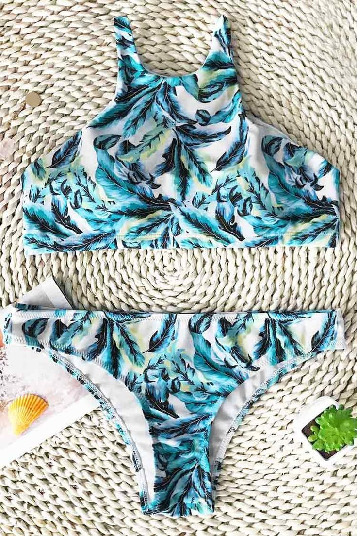 Cupshe Cool Summer Leaf Tank Bikini Set