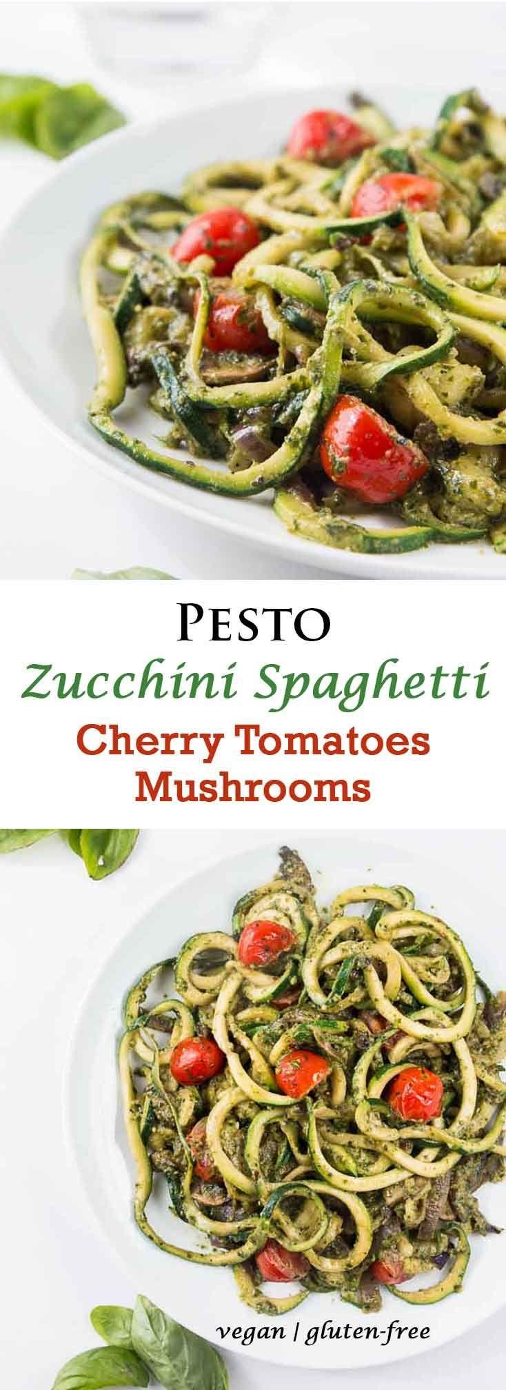 Pesto Zucchini Spaghetti Recipe with Cherry Tomatoes & Mushrooms #vegan #glutenfree | Vegetarian Gastronomy | www.Vegetariangastronomy.com