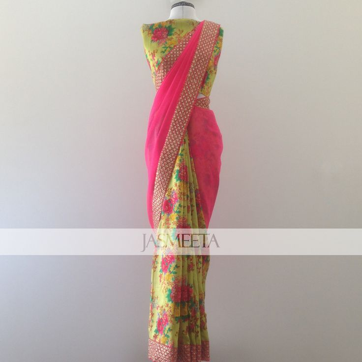 Half floral raw silk, half coral pink georgette, with a coral pink border