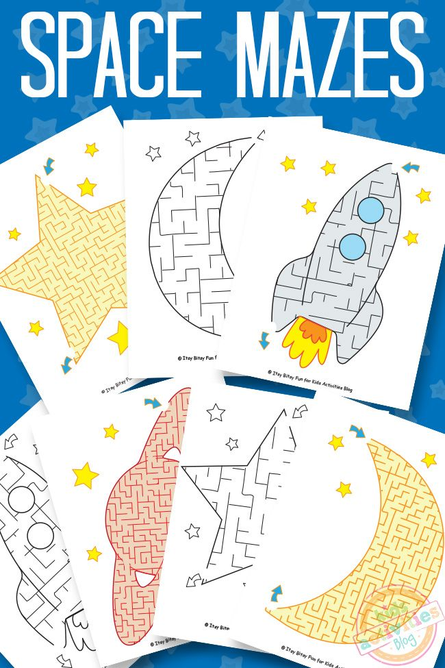 These space mazes are so much fun for kids! Just print and let them play.