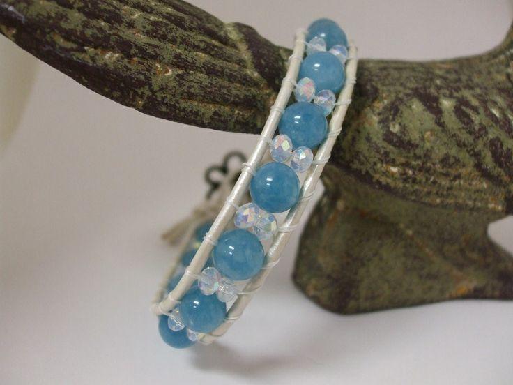 Leather Wrap Bracelet with Blue Sponge Quartz. Email uniquecreations@cogeco.ca for info