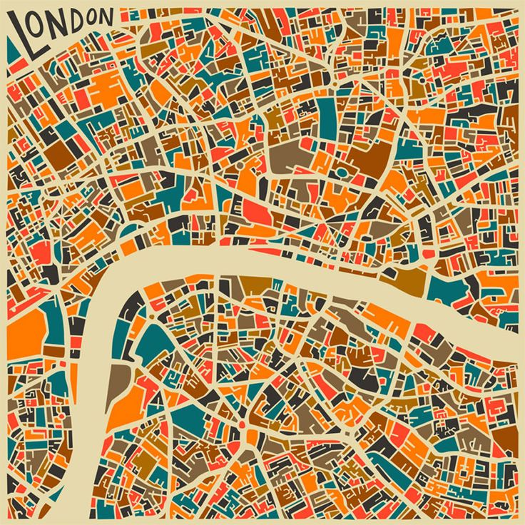 Abstract London map | Illustrator: JazzberryBlue | Prints available for $30 - click the image to visit the Etsy shop | Via: http://www.thisiscolossal.com