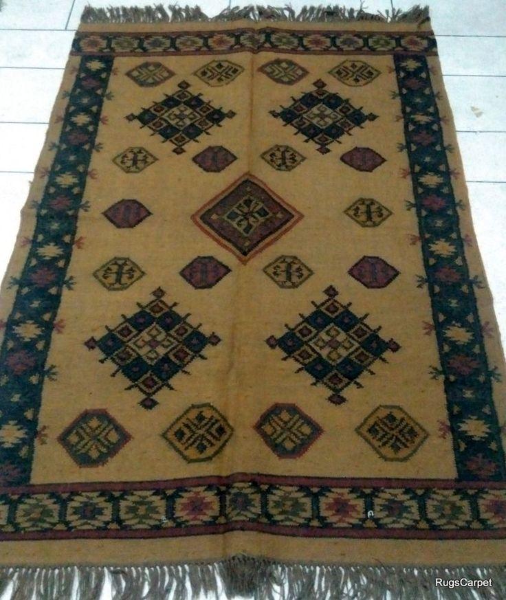 120x180cm. Jaipur Geometrical Wool Jute Hand Knotted Large Christmas Rugs Carpet #Handmade #RagRug