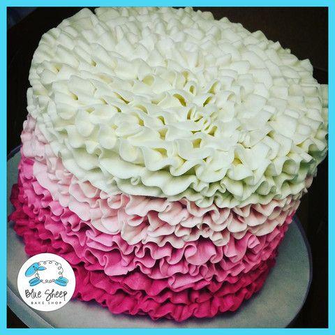 pink ombre ruffle buttercream cake nj