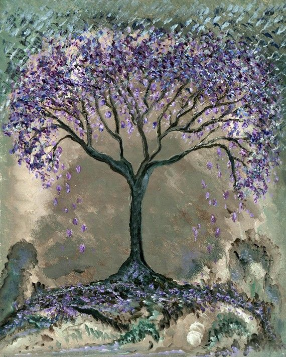 Jacaranda tree fine art print lilac purple violet gray silver pastel blue surreal on Etsy, $20.00