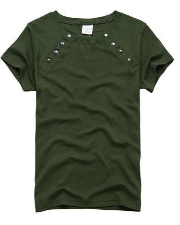 Fashion Solid Rivets Crew Neck Cotton Short Sleeve Men T Shirt