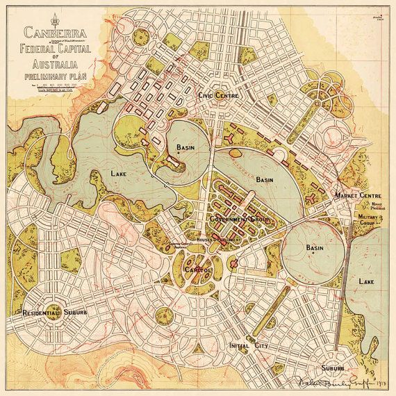 "Antique map - Old map of Canberra , Australia - Print - 16 x 16 "" on Etsy, $29.32 CAD"