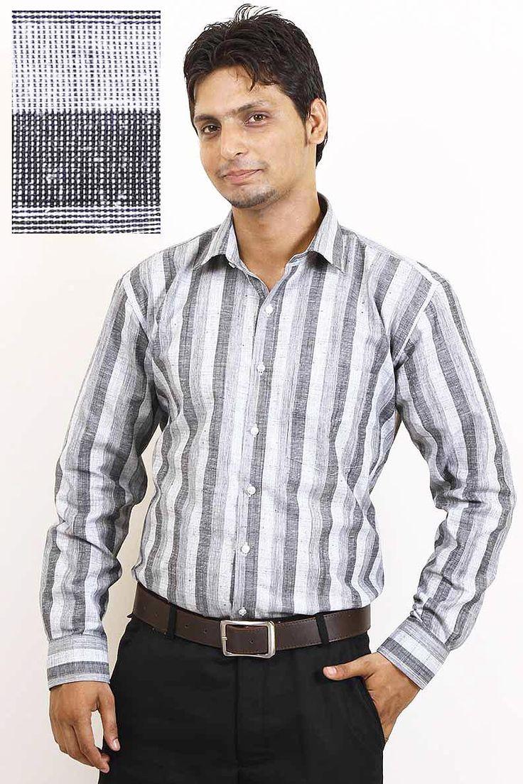 Buy Striped Grey Formal Shirt For Men Online in India