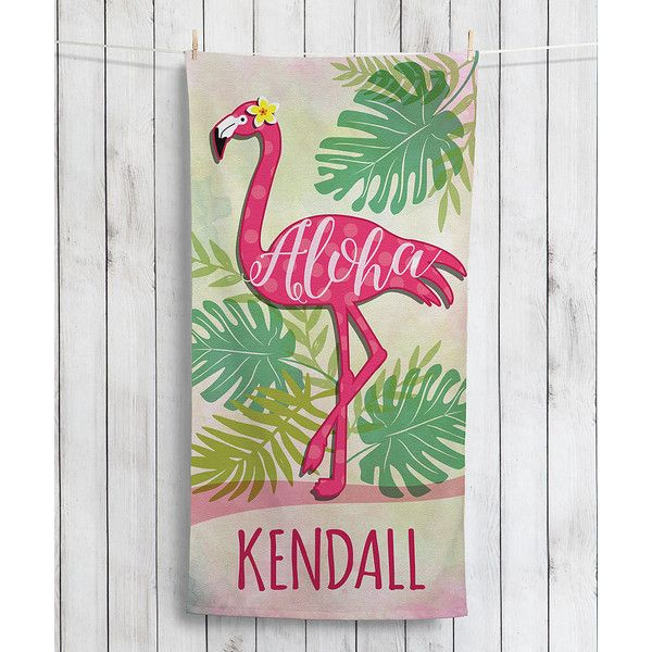 Personalized Planet 'Aloha' Flamingo Personalized Beach Towel (€17) ❤ liked on Polyvore featuring home, bed & bath, bath, beach towels, flamingo beach towel and personalized beach towels