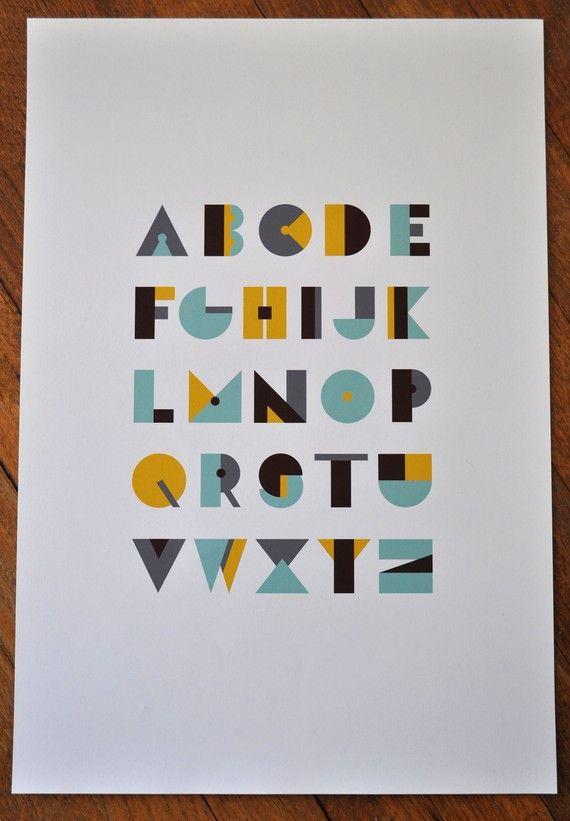 Modern alphabet poster 13x19 by Wondercloud on Etsy, $30.00