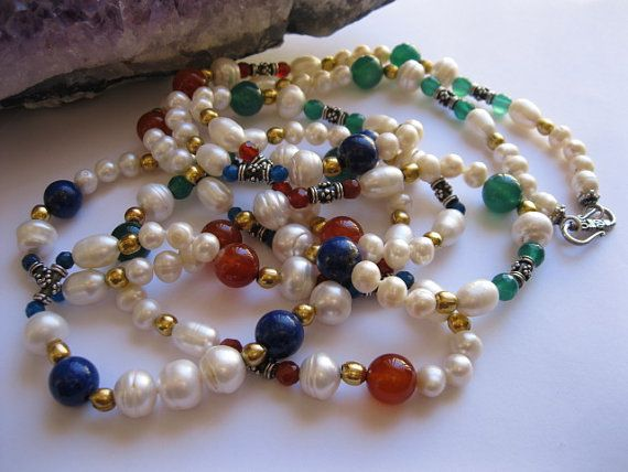Bright Gemstone and Pearl Necklace