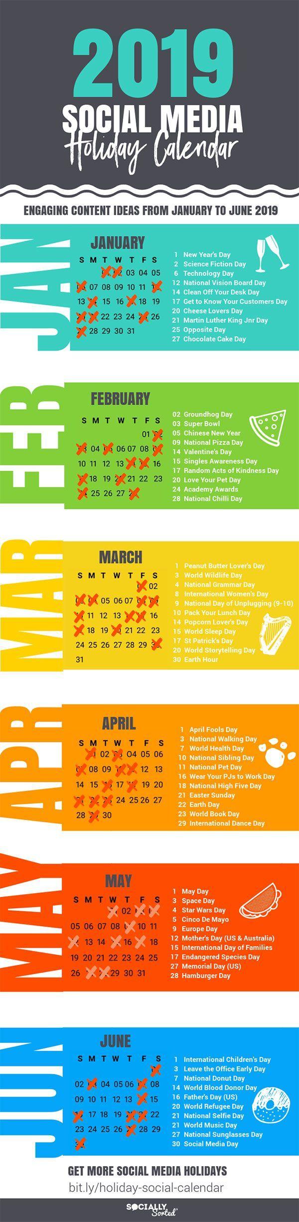 Erstaunlicher Feiertags-Social Media-Inhaltskalender von 2019 [Infographic]