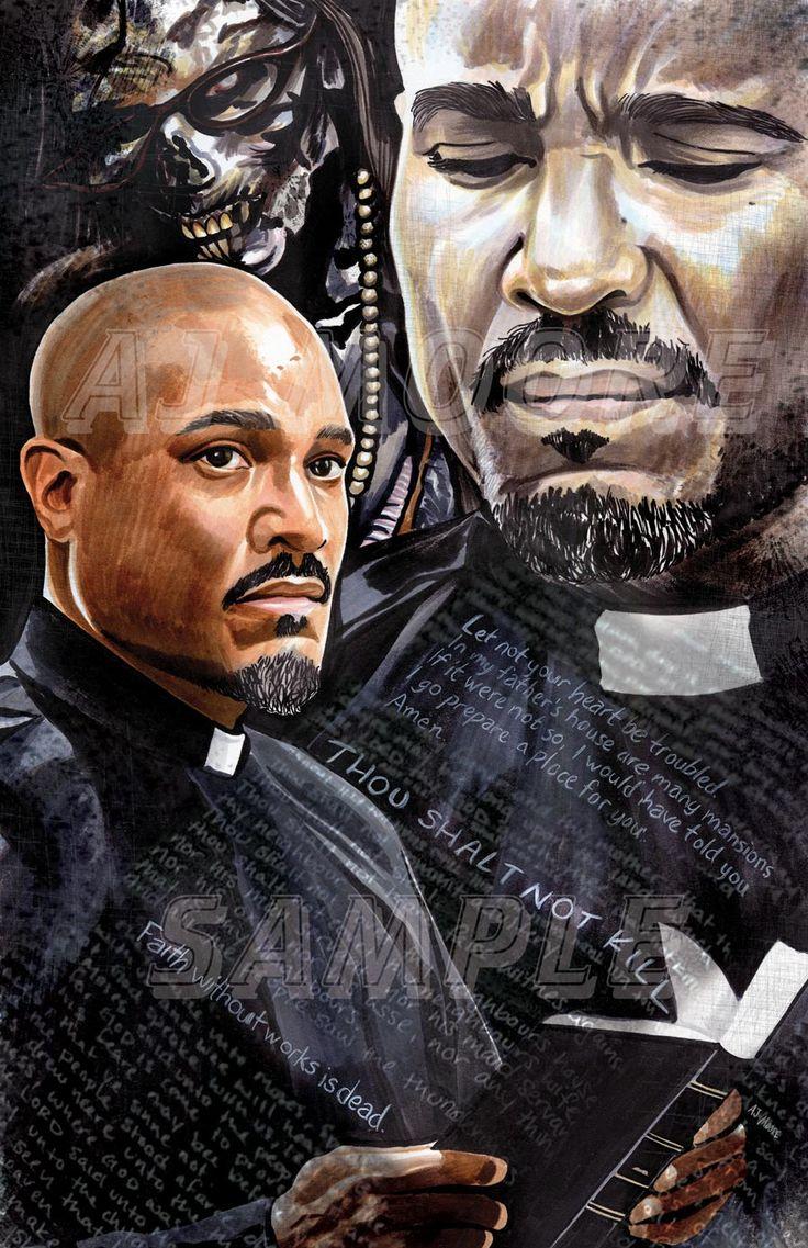 Father Gabriel By: Artist AJ Moore Medium: Markers Portrayed by Seth Gilliam #ArtistAJMoore #fathergabriel #sethgilliam #twd #walkingdead #twdgabriel