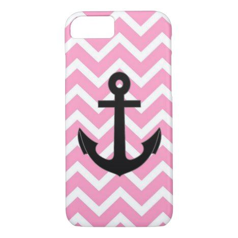 Chevron pastel pink black anchor pattern iPhone 8/7 case #pastel #iphone #protective #cases