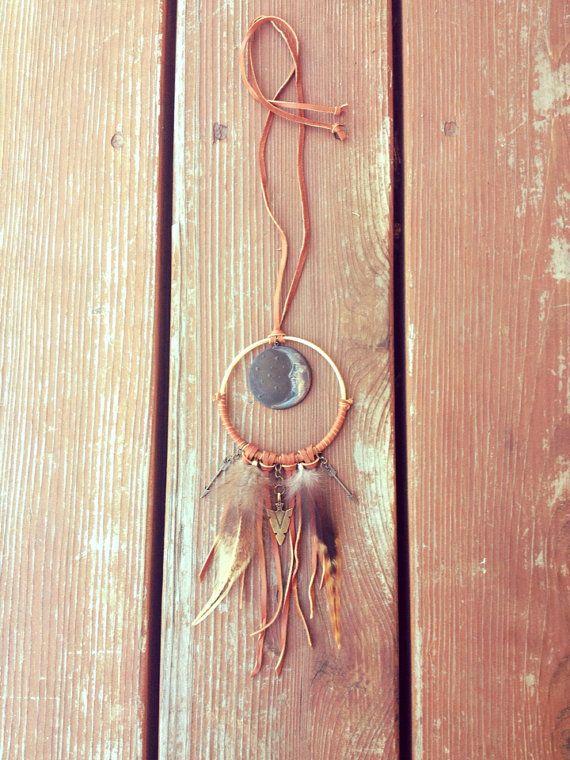Dream Catcher Necklace - Moon Necklace, Dreamcatcher Jewelry, Bohemian Jewelry