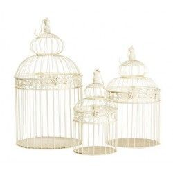 Set tre gabbie decorative uccelli 59cm bianche rotonde Shabby