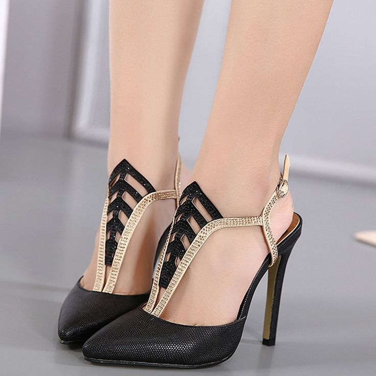Shoespie Chic Black Caged Slingback Stiletto Heels