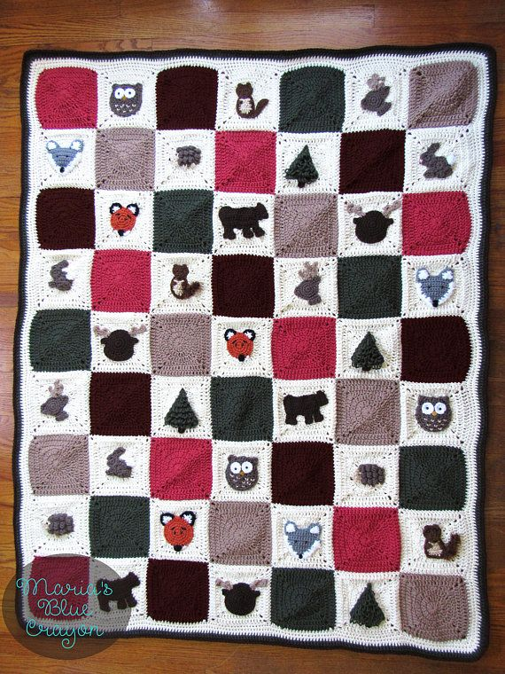 PDF Woodland Afghan Series Granny Squares Crochet Patterns - All 10 Woodland Theme Square Crochet Patterns