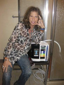 "Fact Friday: Steven Tyler drinks Kangen Water! He revealed to US Magazine that, ""Somehow a wineglass makes my Kangen Water taste better""."